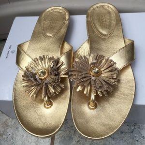 Coach Suki Rhinestone Flower Flip-Flop Sandals